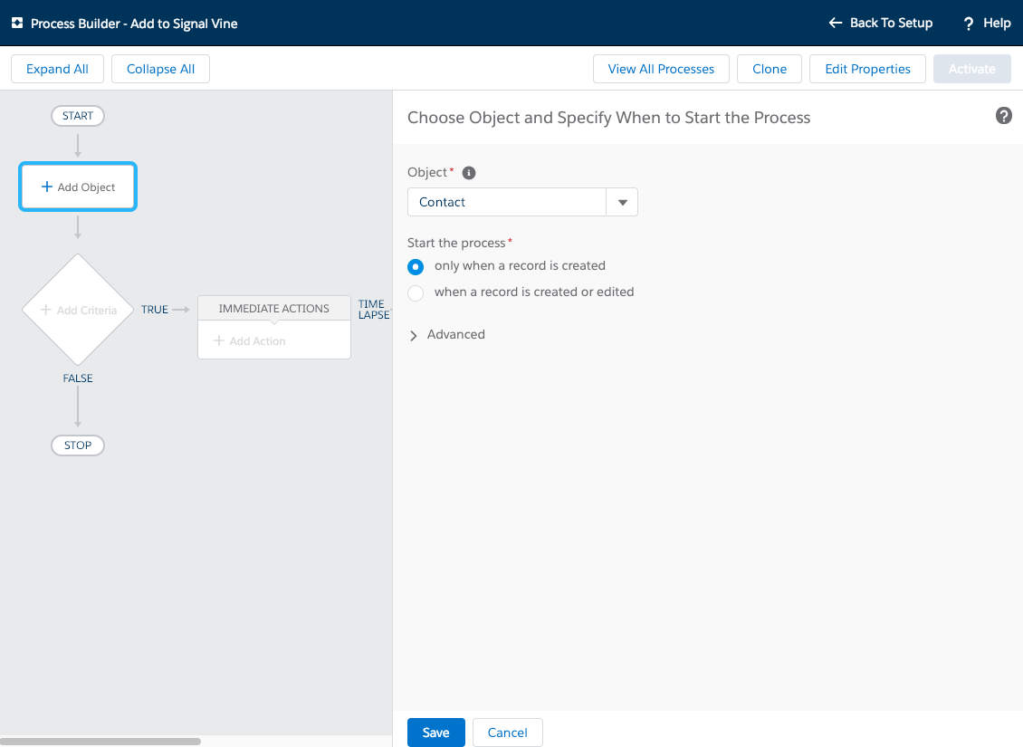 Screenshot of the Salesforce Process Builder dialog to choose the object