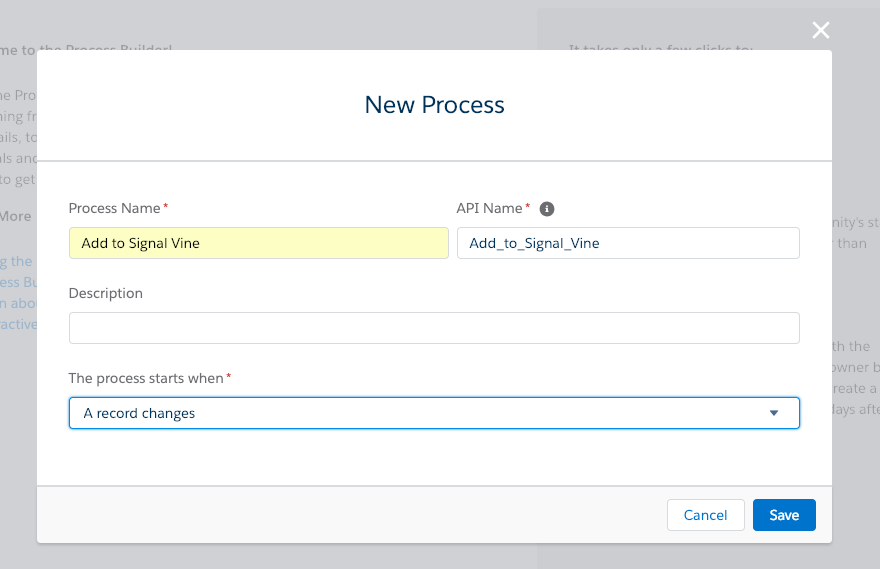 Screenshot of the Salesforce Process Builder dialog to create a new process
