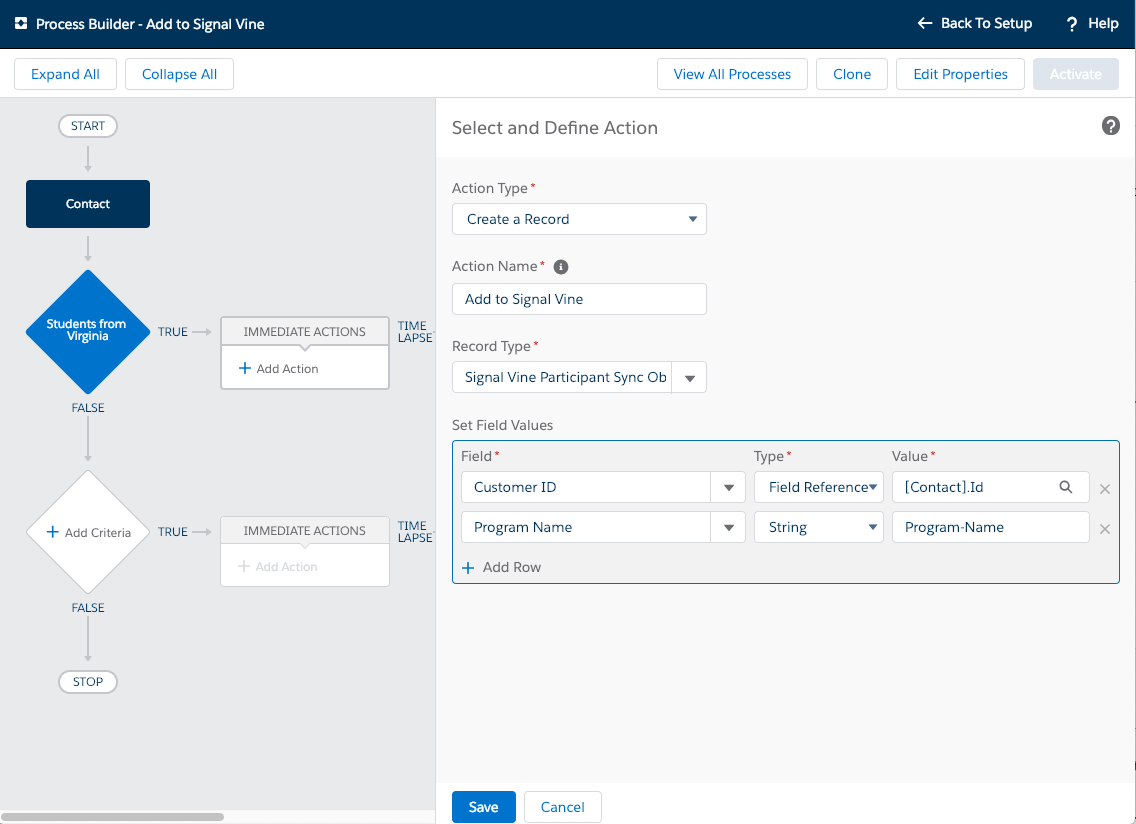 Screenshot of the Salesforce Process Builder dialog to define the action with the action set to create a new record with Customer ID and Program Name defined