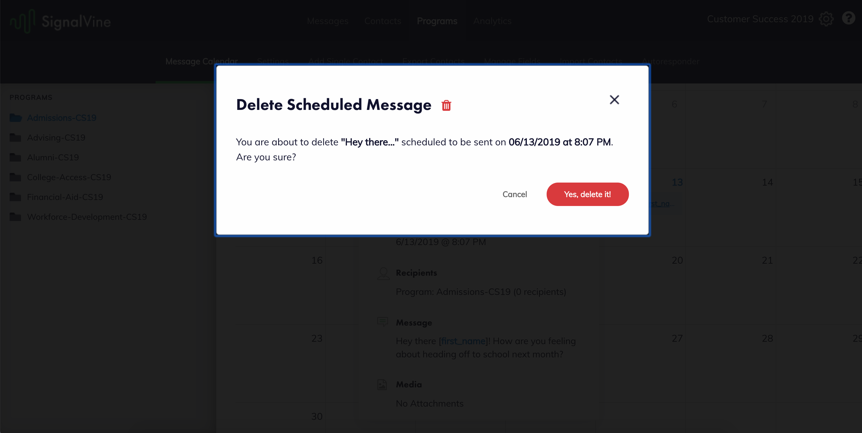 image of confirmation page to affirm intent to delete message