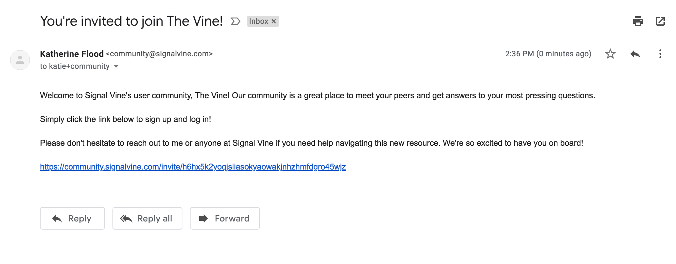 Image of 'The Vine' Invitation email