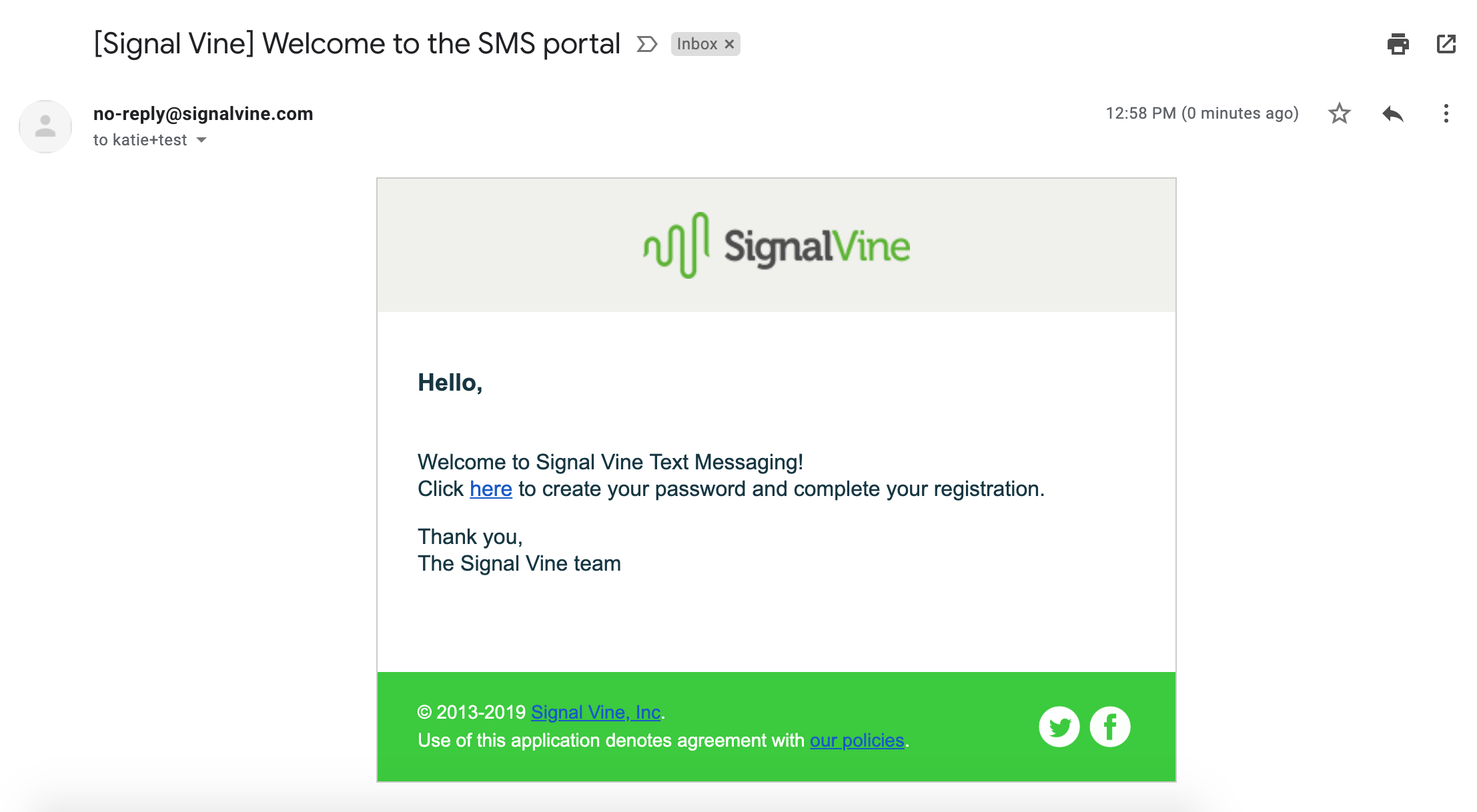 Image of Signal Vine welcome email